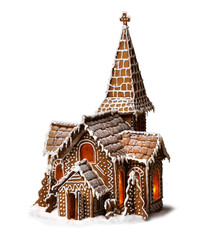 Gingerbread cookies Christmas church isolated