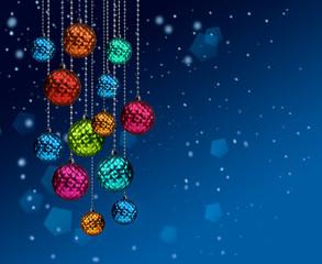 Colorful Christmas balls blue snowfall