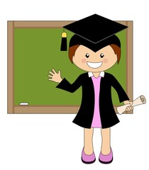 Cartoon girl in cap and gown graduate in front of school board
