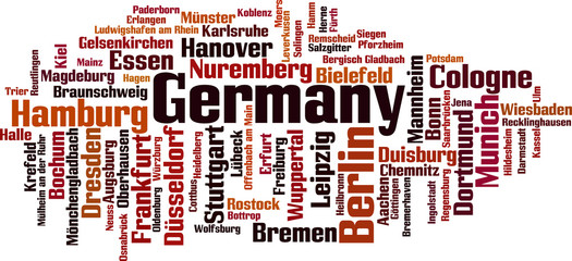 Cities in Germany word cloud concept. Vector illustration