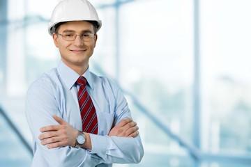 Architect. Commercial Building Architect with Blueprints