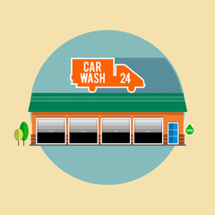 Car wash with a green roof for passenger cars, the facade of the