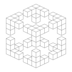 three-dimensional geometrical cube of cubes simple illusion