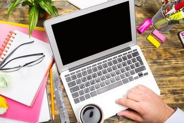 Laptop. Businesspeople using modern technologies