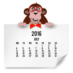 The European calendar with a monkey for 2016. The month of Jule.