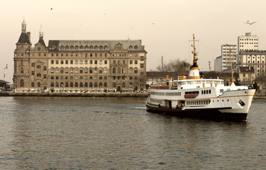 Ferry from the pier of asian side of Istanbul and Haydarpasa Cen