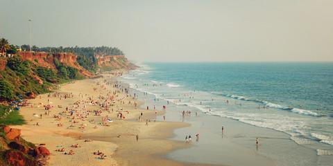 Tropical beach and peaceful ocean - vintage filter. Varkala.