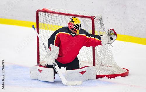Leinwanddruck Bild Ice Hockey - Goalie catches the puck