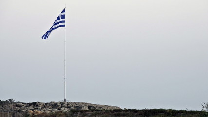 National flag of Greece waving on wind