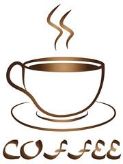 Coffee Tea Cup logo vector design. Cafe emble
