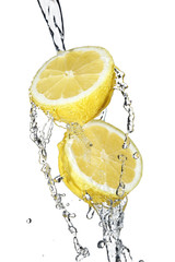 Lemon poured with water
