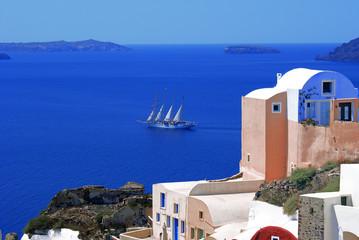 Traditional architecture of Oia village on Santorini island, Gre