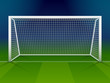 Soccer goalpost with net. Association football goal on field - 80927887