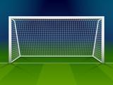 Soccer goalpost with net. Association football goal on field - 80927887