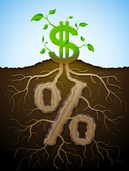 Growing dollar sign as plant with leaves and percentage as root
