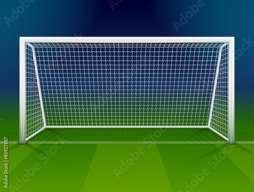 Soccer goalpost with net. Association football goal on field