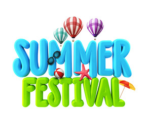 3D Rendered Illustration of Summer Festival Word Title