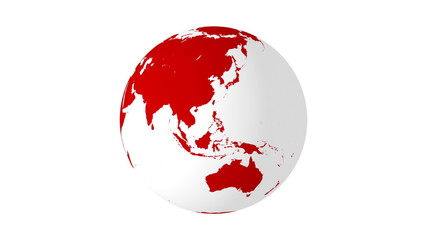 Rotating earth 4K red with white background