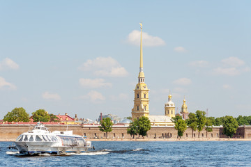 Meteor hydrofoil by the Peter and Paul fortress, Petersburg