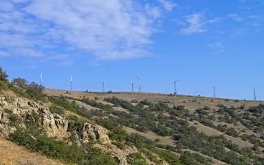 Wind power generators on top of a mountain. Crimea.