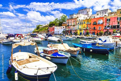 Leinwanddruck Bild Procida -beautiful colorful small island of Italy