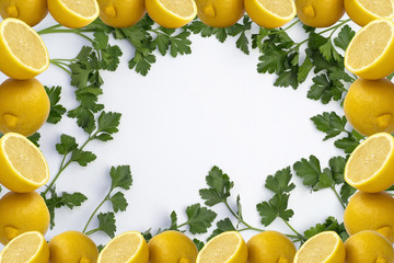 Parsley on White Tablecloth and Lemon Frame