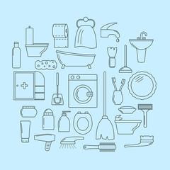 Set of line icons. Bathroom theme