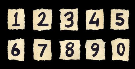 Handwritten digits over old paper.
