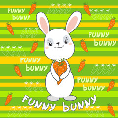 Cute bunny on the colorfull background.