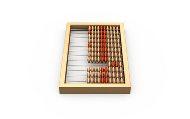 3d illustration of wooden abacus isolated on white background