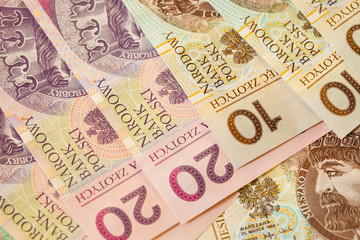 Polish zloty banknotes currency as background