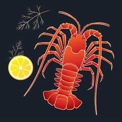 Crayfish with lemon and dill