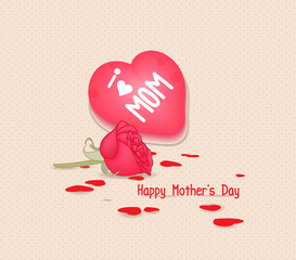 Happy mothers day with heart and flowers