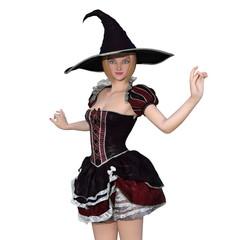 魔女コスチュームの女性