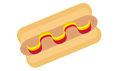 Vector Hot Dog with Ketchup & Mustard