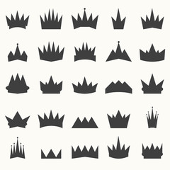 Crown icons set. Heraldic design elements