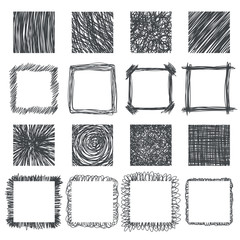 Set of hand drawn squares. Vector design elements. Lines texture