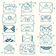 Sketch style mail, message or envelope. Hand drawn