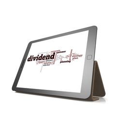 Dividend word cloud on tablet