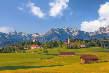 Landscape of Bavarian and Alpine Alps in Germany