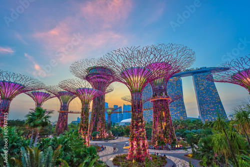 sunset at Singapore city - 80937835