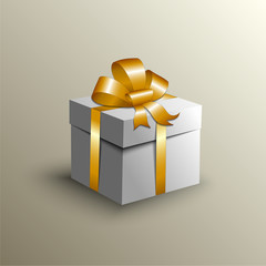 Vector abstract gift box with golden ribbon
