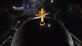 Night aerial view of biggest orthodox church in Serbia.