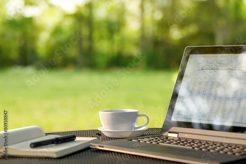 Laptop and coffee in outdoor office poster