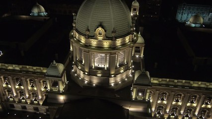 Night aerial view on Serbian parliament building