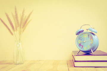 Alarm clock with book - Vintage effect style pictures