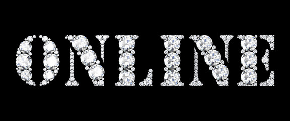 diamond words online on black background (high resolution 3D ima