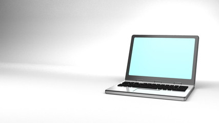 Laptop On White Text Space
