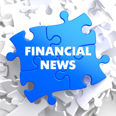 Financial News on Blue Puzzle.