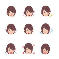 若い 女性 顔 表情 イラスト